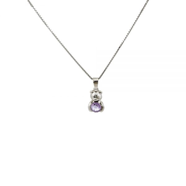 Srebrna ogrlica Bear Violet Swarovski
