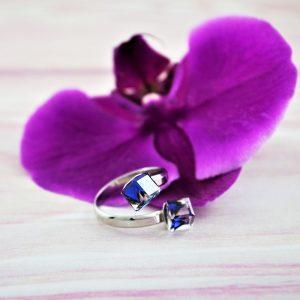 Srebrni prstan Cube Bermuda Blue Swarovski