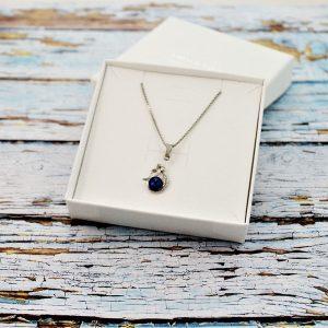 Otroška srebrna ogrlica Morska deklica modra Swarovski