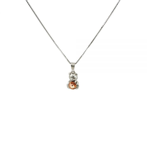 Srebrna ogrlica Bear Peach Swarovski