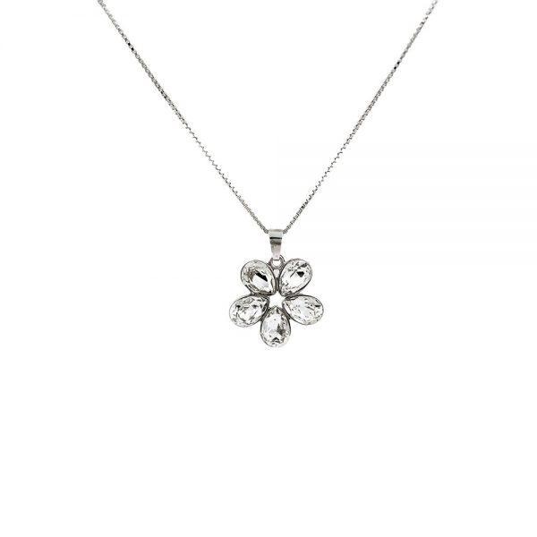 Srebrna ogrlica Flower Crystal Swarovski