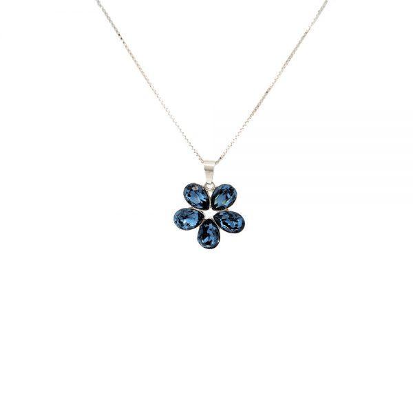 Srebrna ogrlica Flower Denim Blue Swarovski