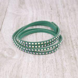 Modna zapestnica Alcantara Memories Slim Green