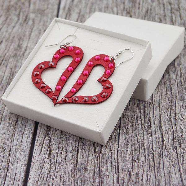 Modni viseči uhani Alcantara Heart Lux Red