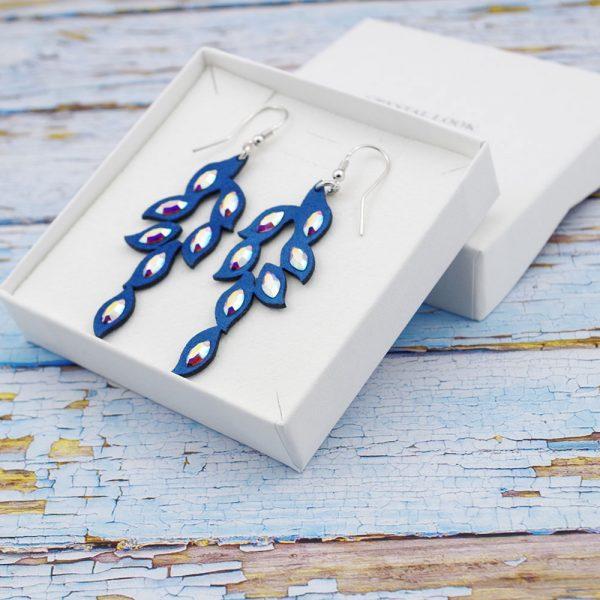 Modni viseči uhani Alcantara Leaf Blue
