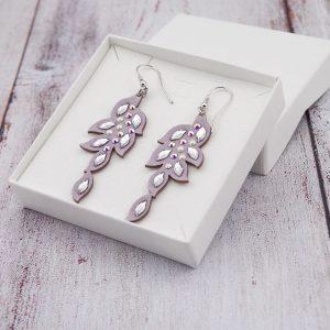 Modni viseči uhani Alcantara Leaf Lux Violet