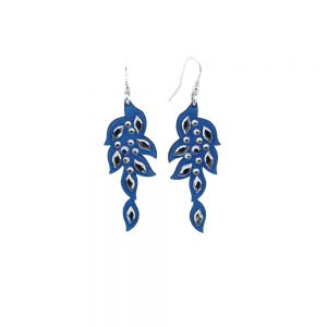 Modni viseči uhani Alcantara Leaf Lux Blue