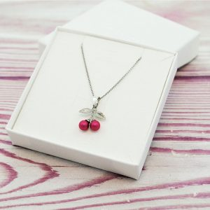 Srebrna ogrlica Cherry Pink Pearl